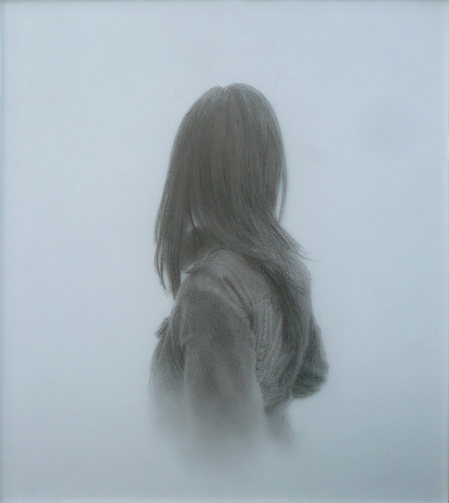 woman with long hair has her back turned to us. drawing by hernan marin