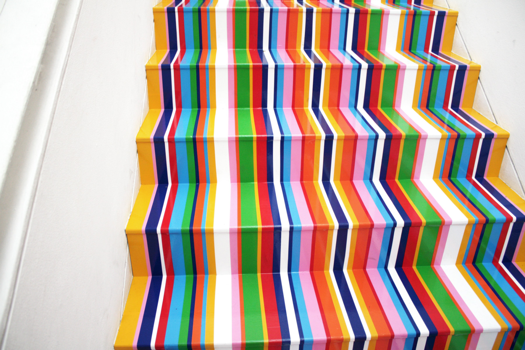 jim lambie fruitmarket multi colour stripes stairs