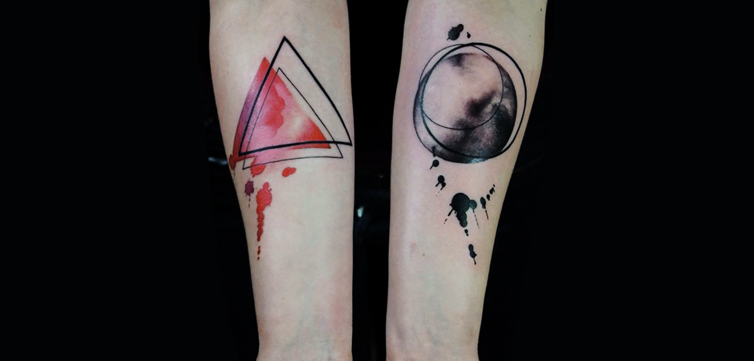 triangle and circle, watercolor paint style tattoo by Julia Rehme.