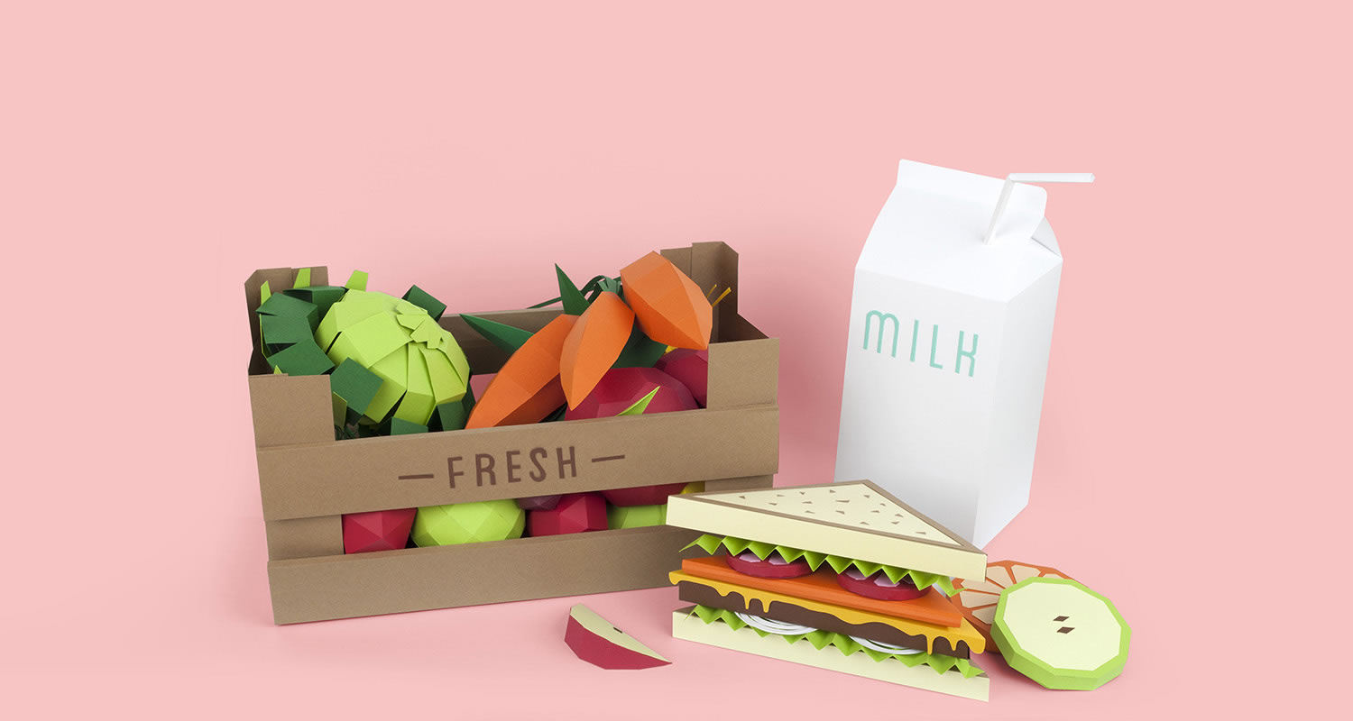 sandwich, vegetables and mik, paper sculptures by lobulo
