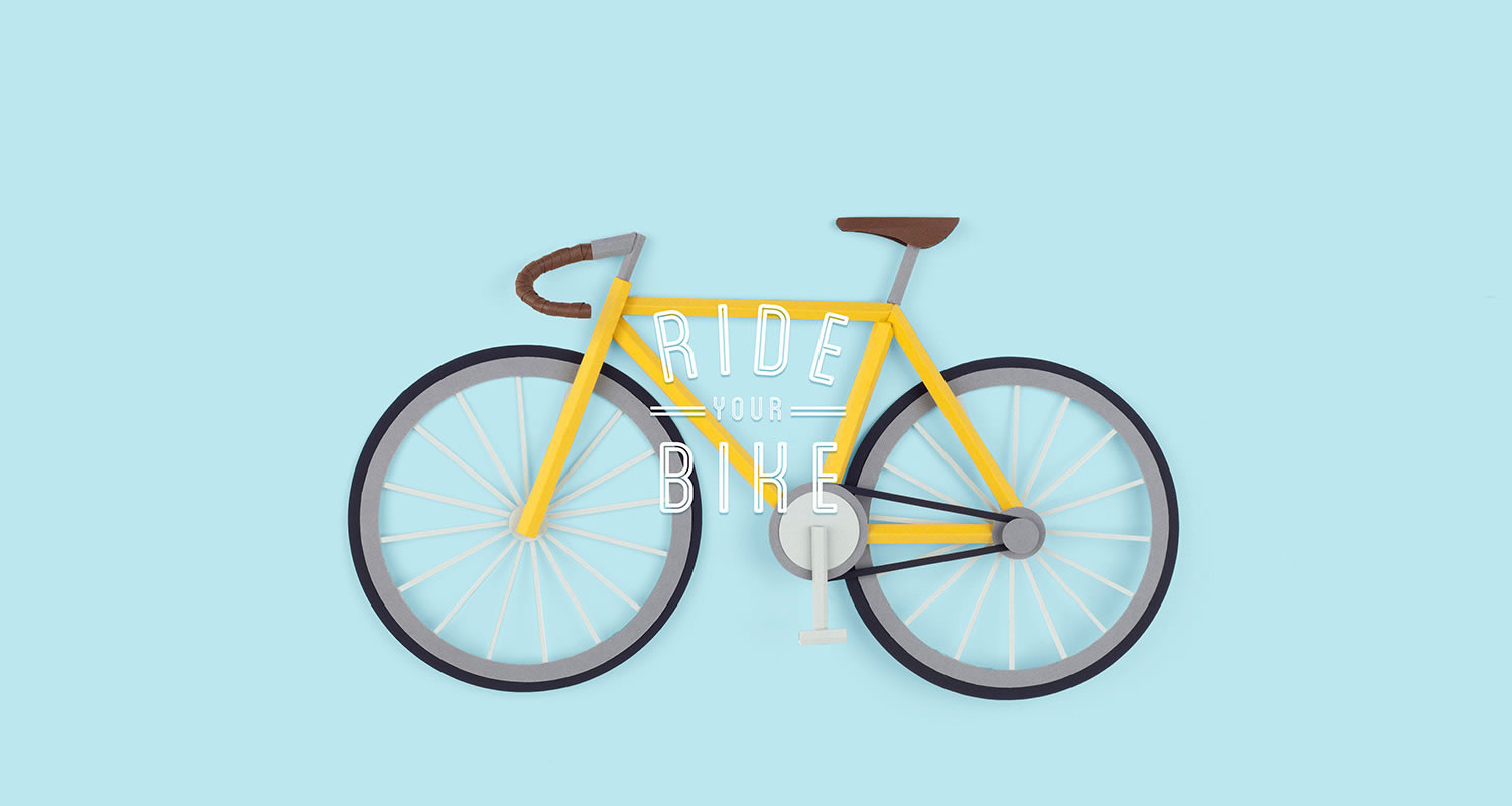 yellow racing bicycle by lobulo, paper art