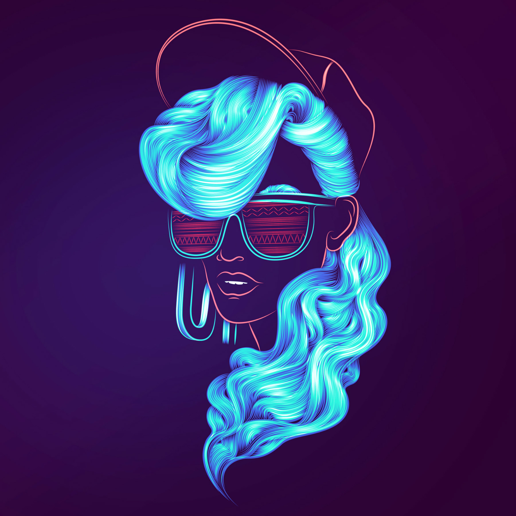 Digital Portraits in Electric Colours