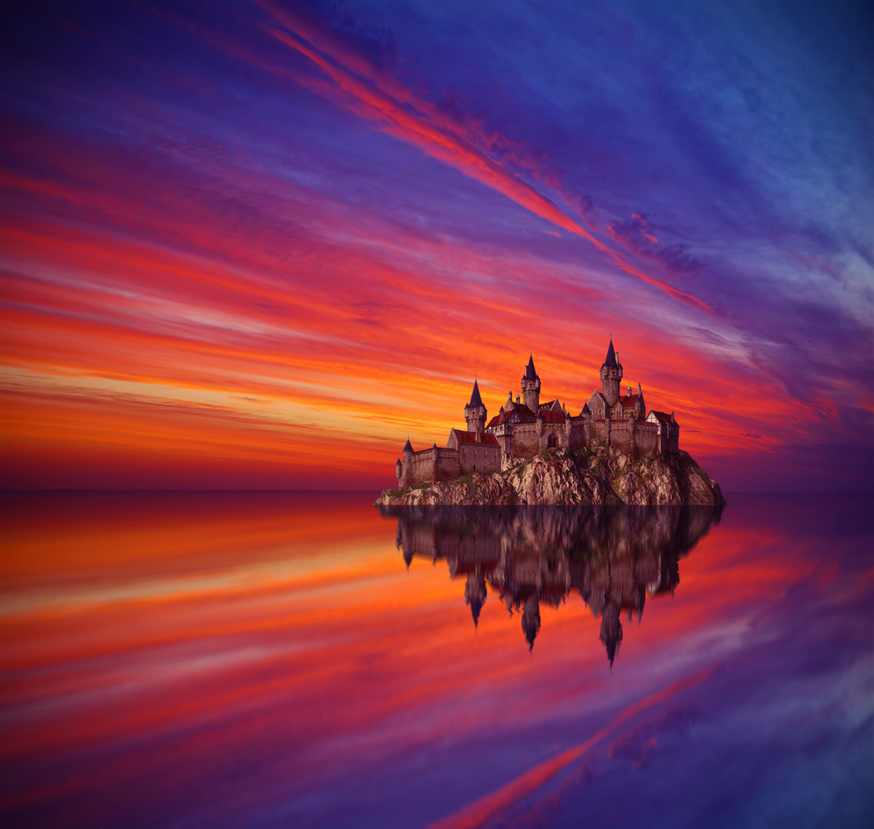 Fantasy Castle Floating on Waves