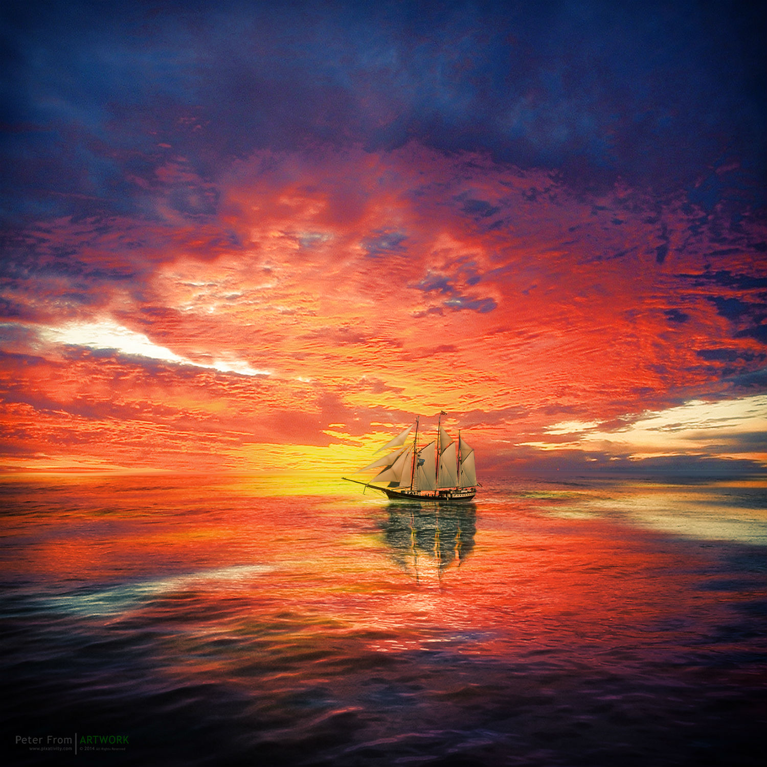 peter from photography colour sunset sky sea sailing ship