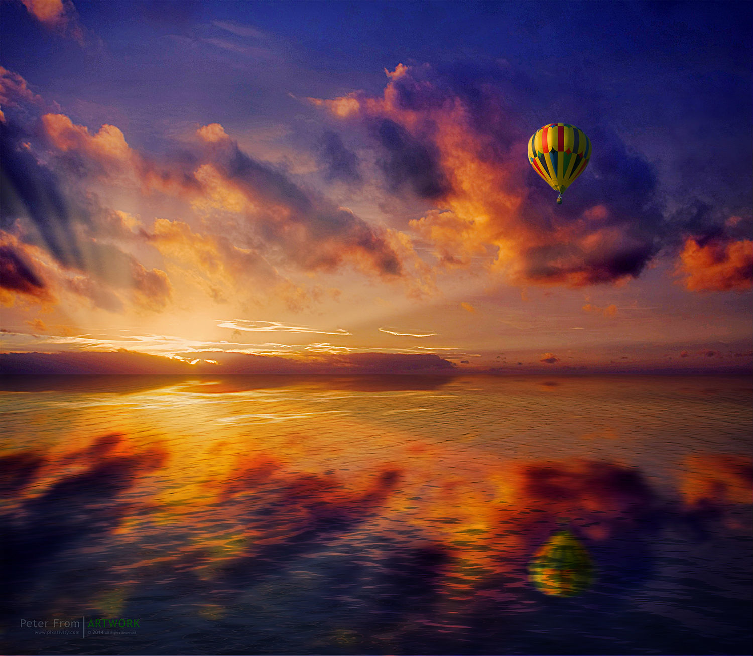 peter from photography colour sunset sky sea hot air balloon
