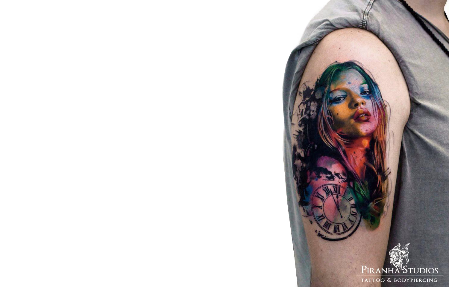 colored portrait tattoo by Piranha Tattoo Studios