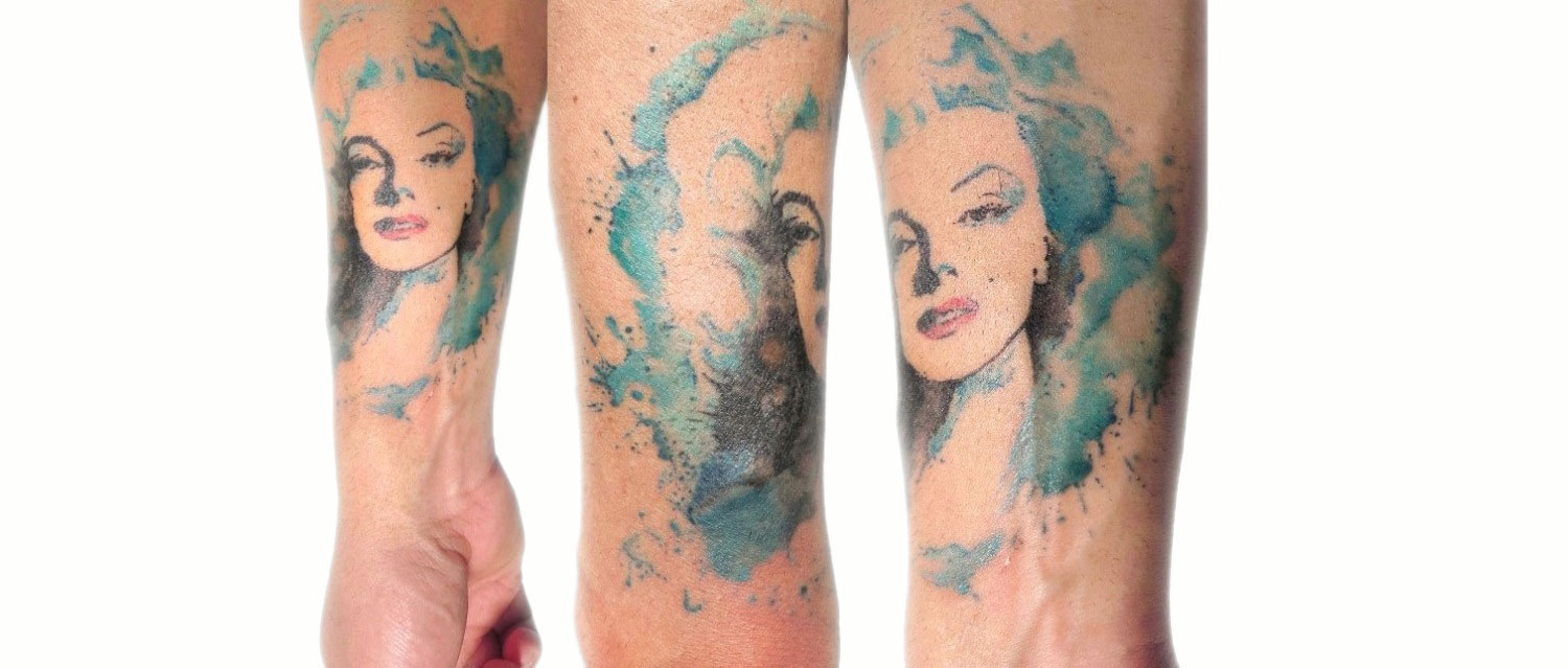 marily, watercolor tattoo by rodrigo tas, brazil