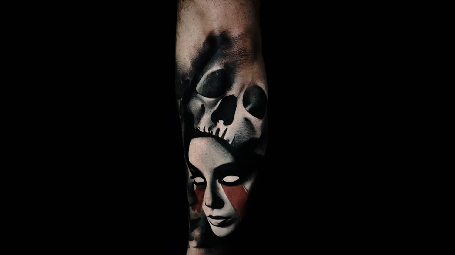 dark art: skull and woman with red paint on face, tattoo by Timur Lysenko