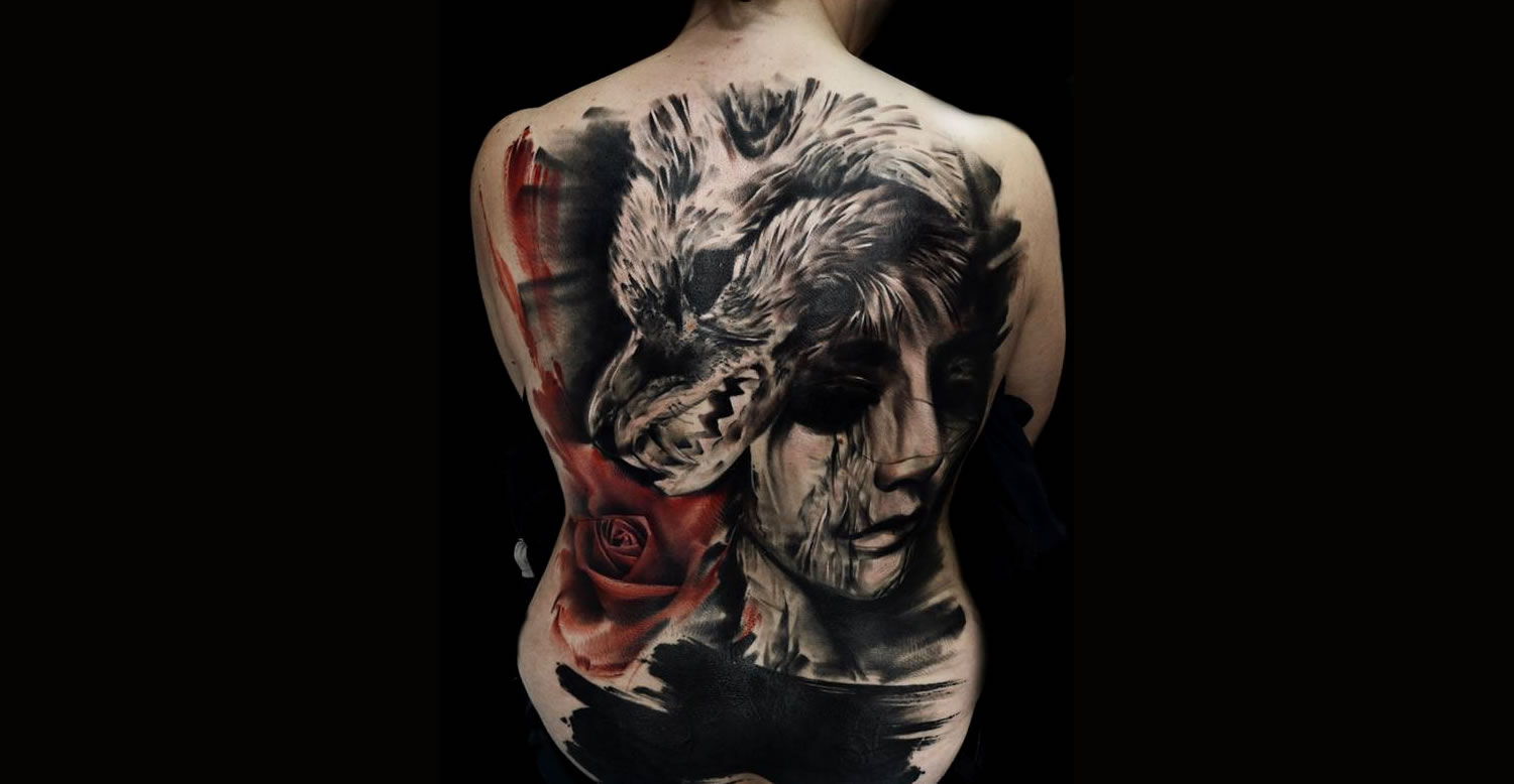 andry wolf and woman portrait on back. tattoo by Timur Lysenko