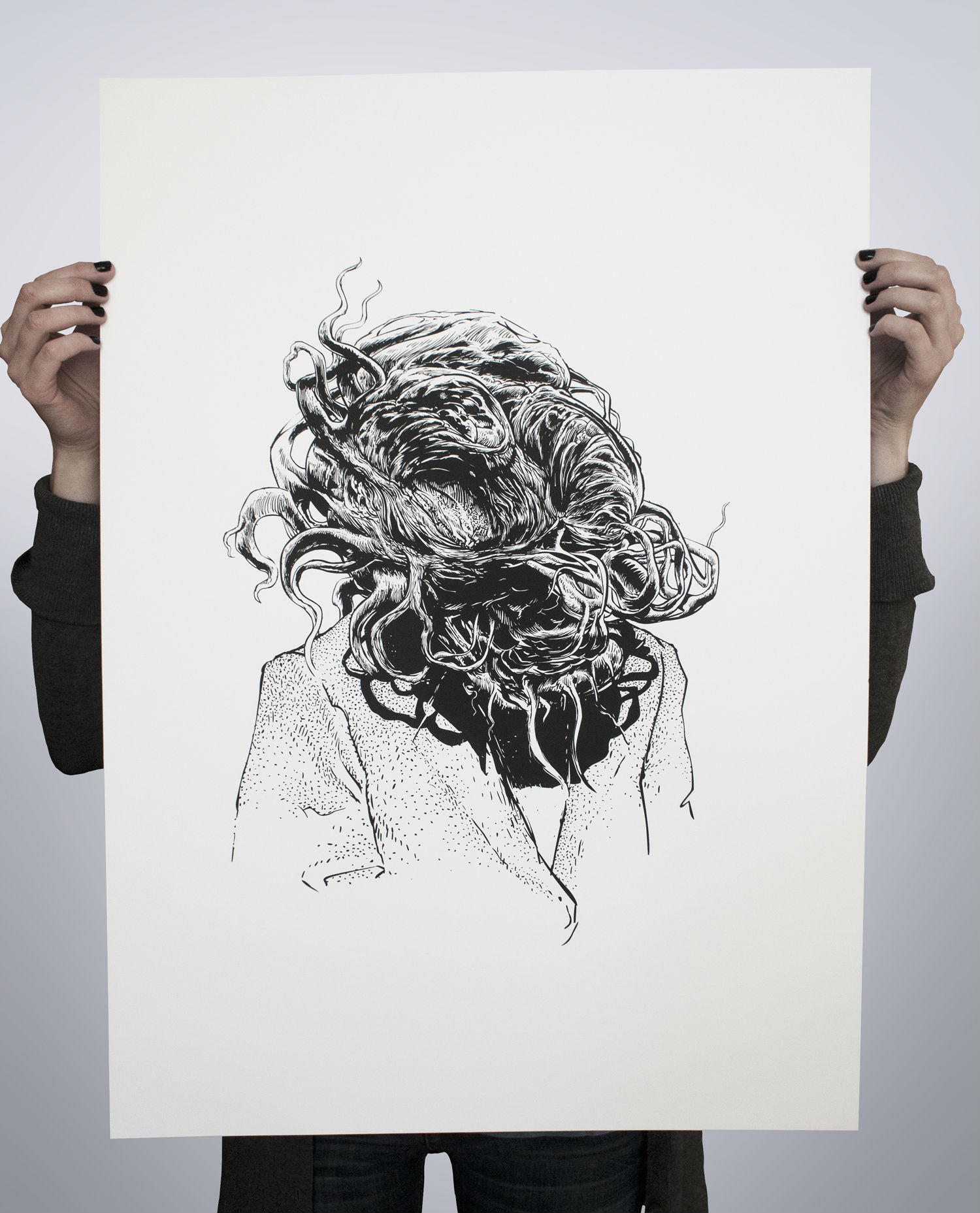 tomek plonka illustration black white print surreal