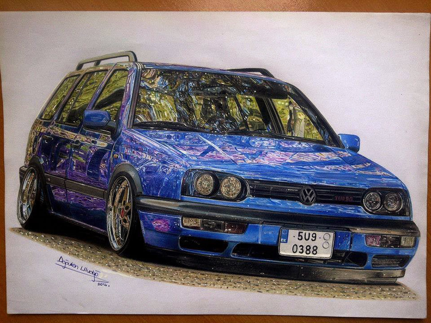 blue wv car, drawing by ulas and dogukan
