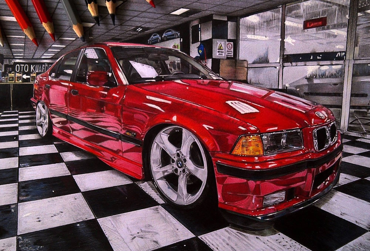 red car on checkered floor, drawing by dogukan ulas