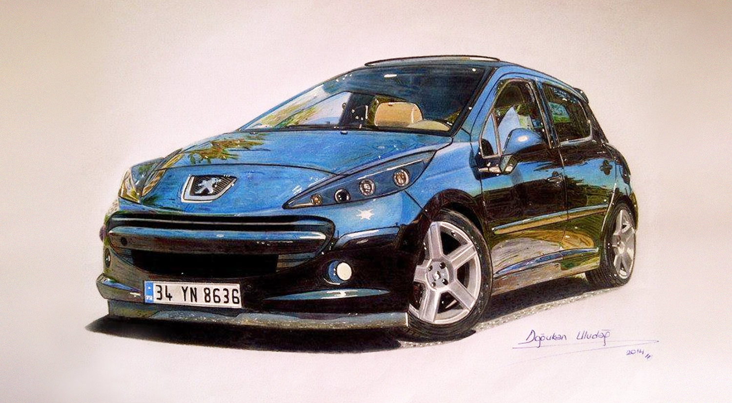 shiny peugeot, drawing by ula dogukan, car.