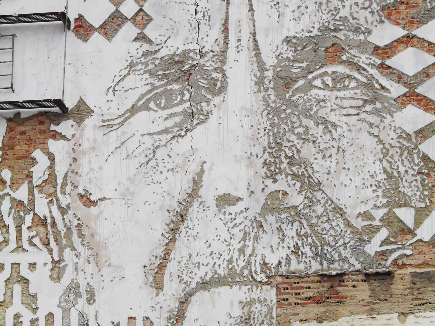 close-up of graffiti portrait, lisbon building alcantra, by vhils