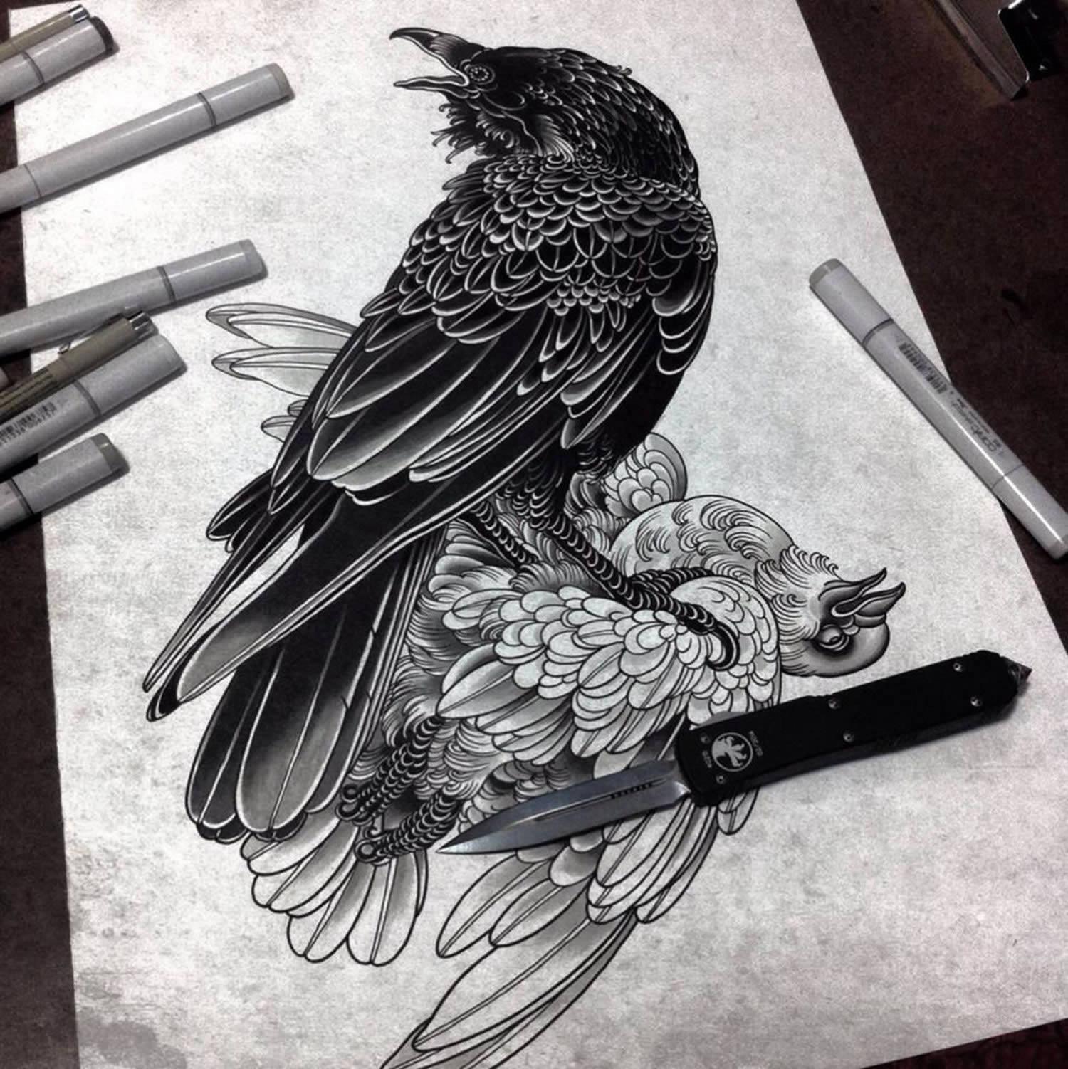 bird tattoo flash by alexander grim
