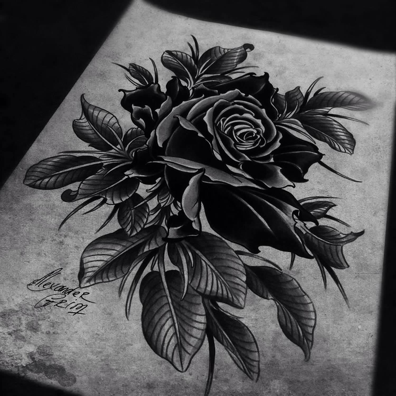 rose tattoo flash drawing by alexander grim