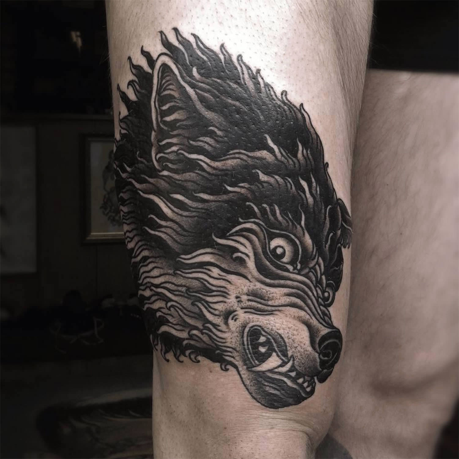 wolf tattoo on leg by alexander grim