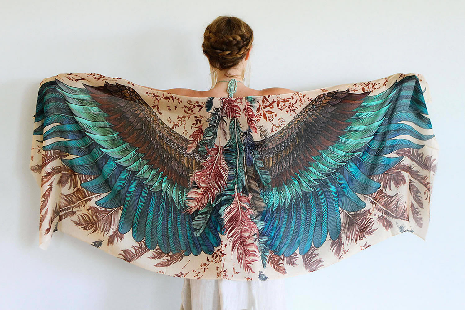 exotic bird scarf by shovava (etsy)