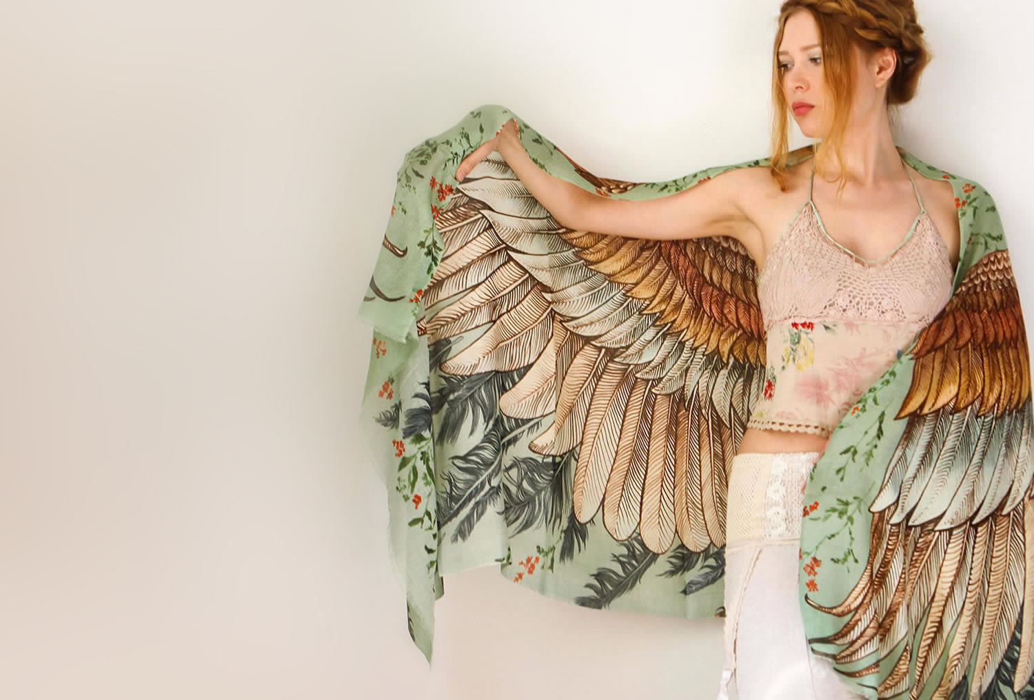 beautiful bird wing scarf by shovava (etsy)