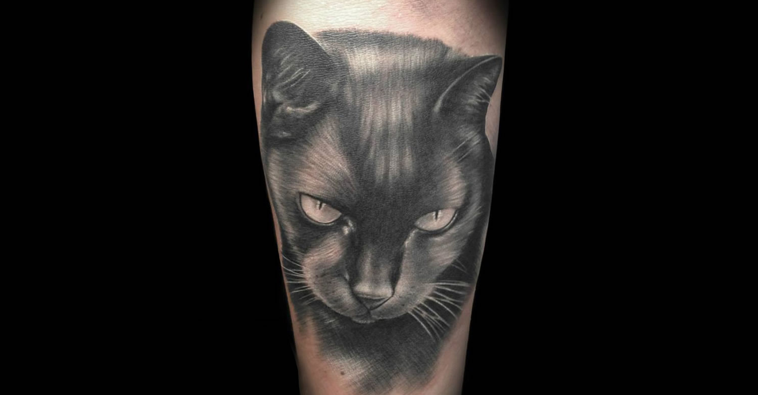 black cat tattoo
