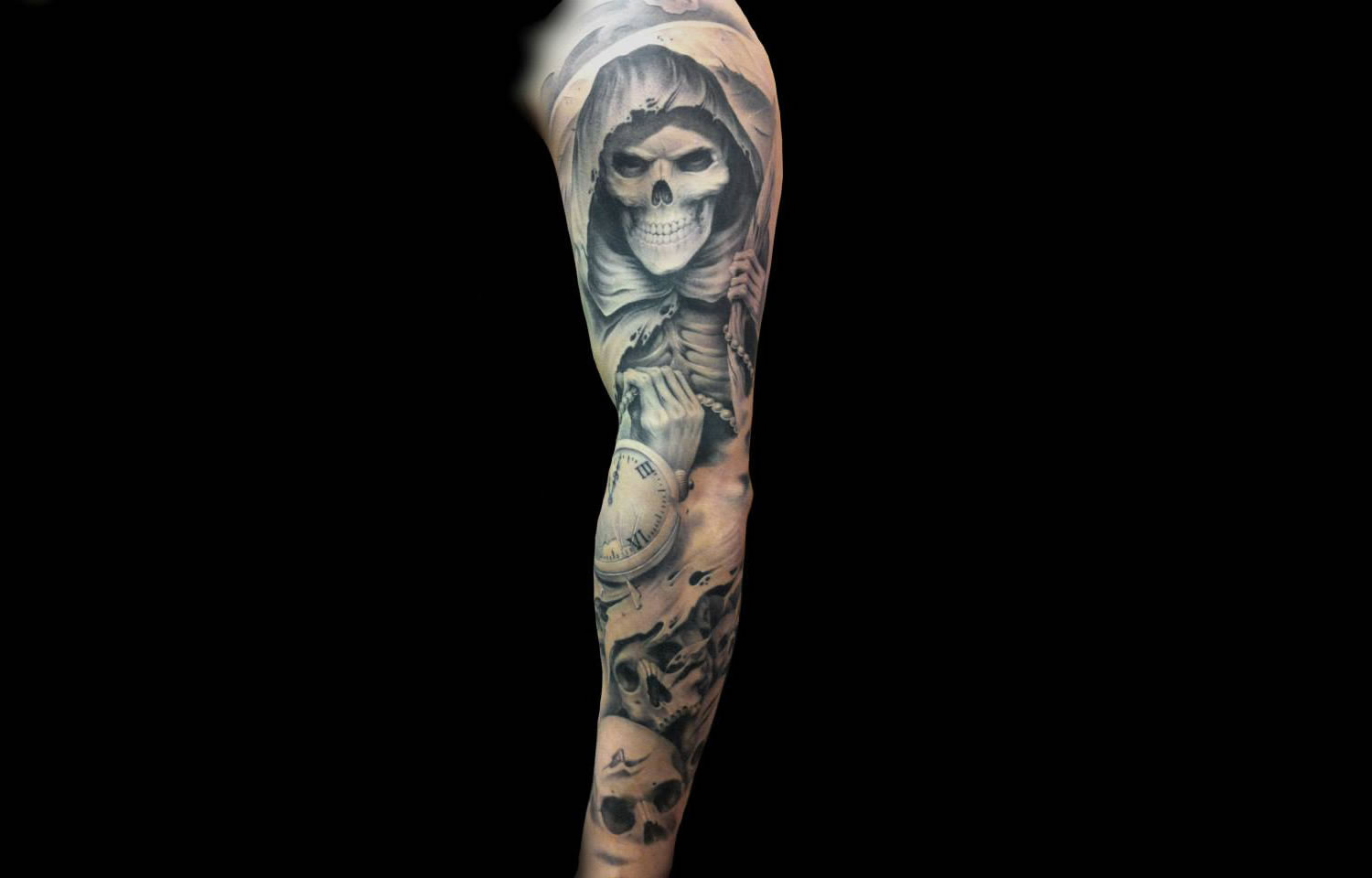 the grimm, skeleton in cloak tattoo