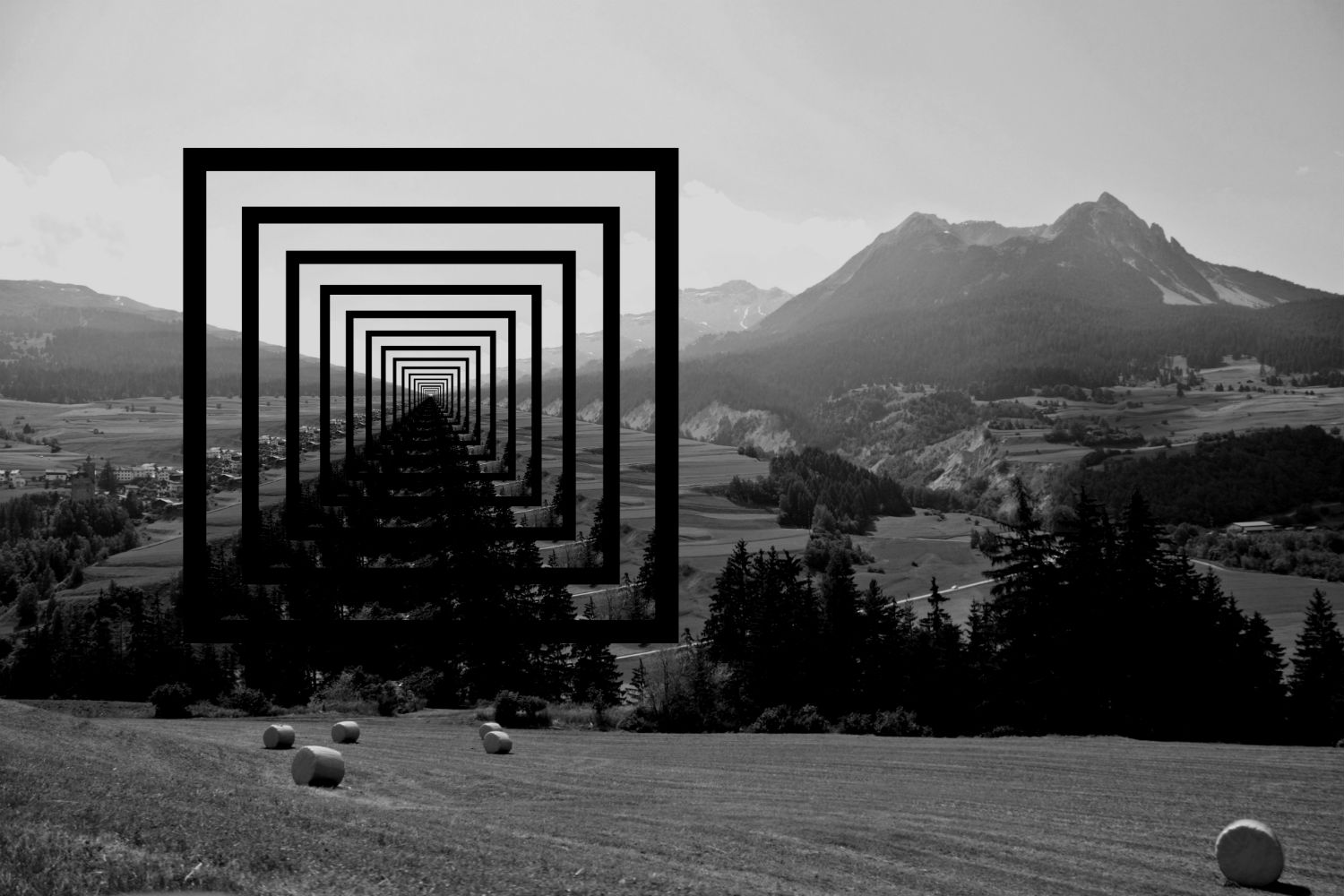Edgar Romanovskis digital illusion trick optical art black white mountains