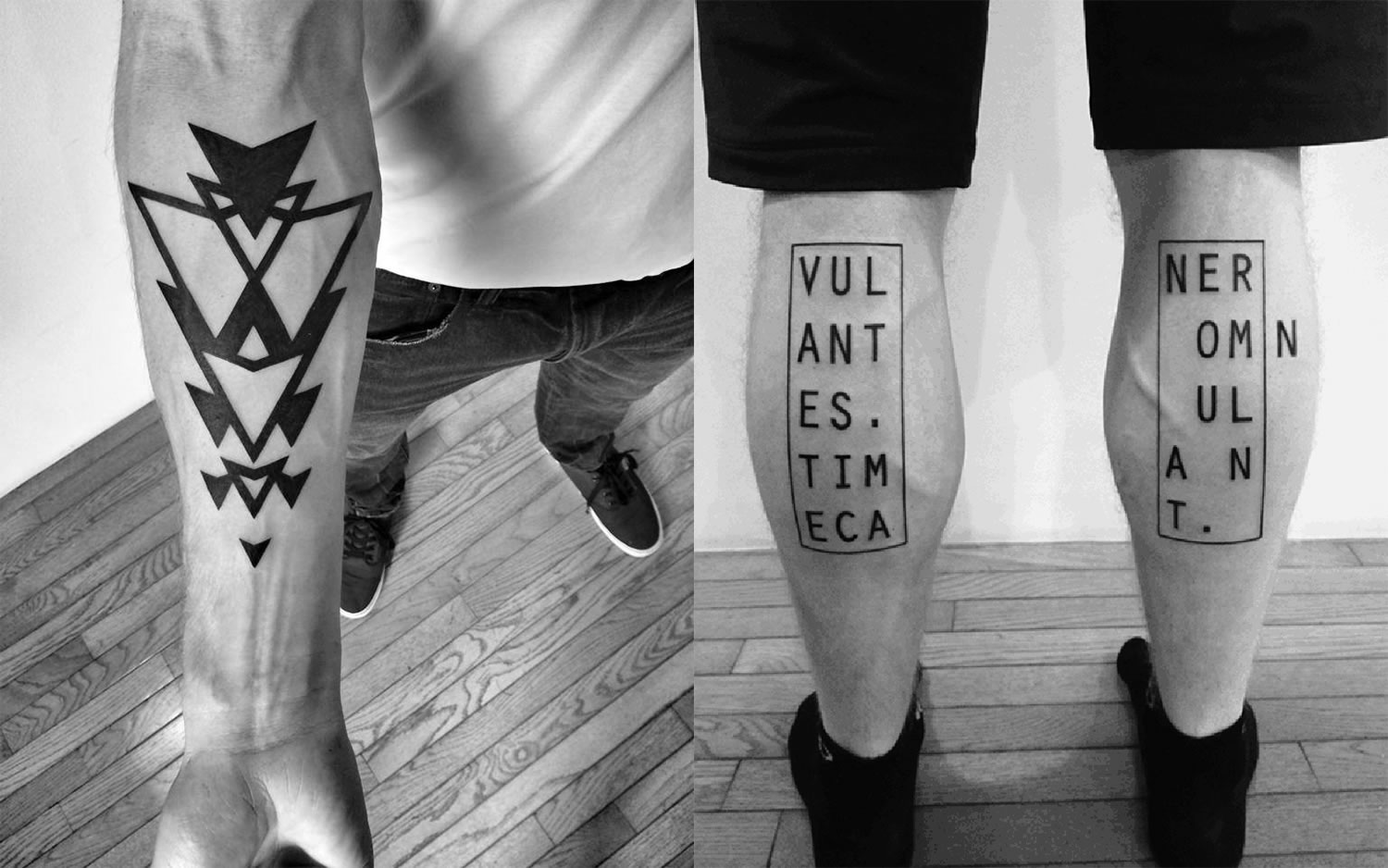 triangles on arm and letters and rectangle outline on leg, tattoos by ben volt, blackwork