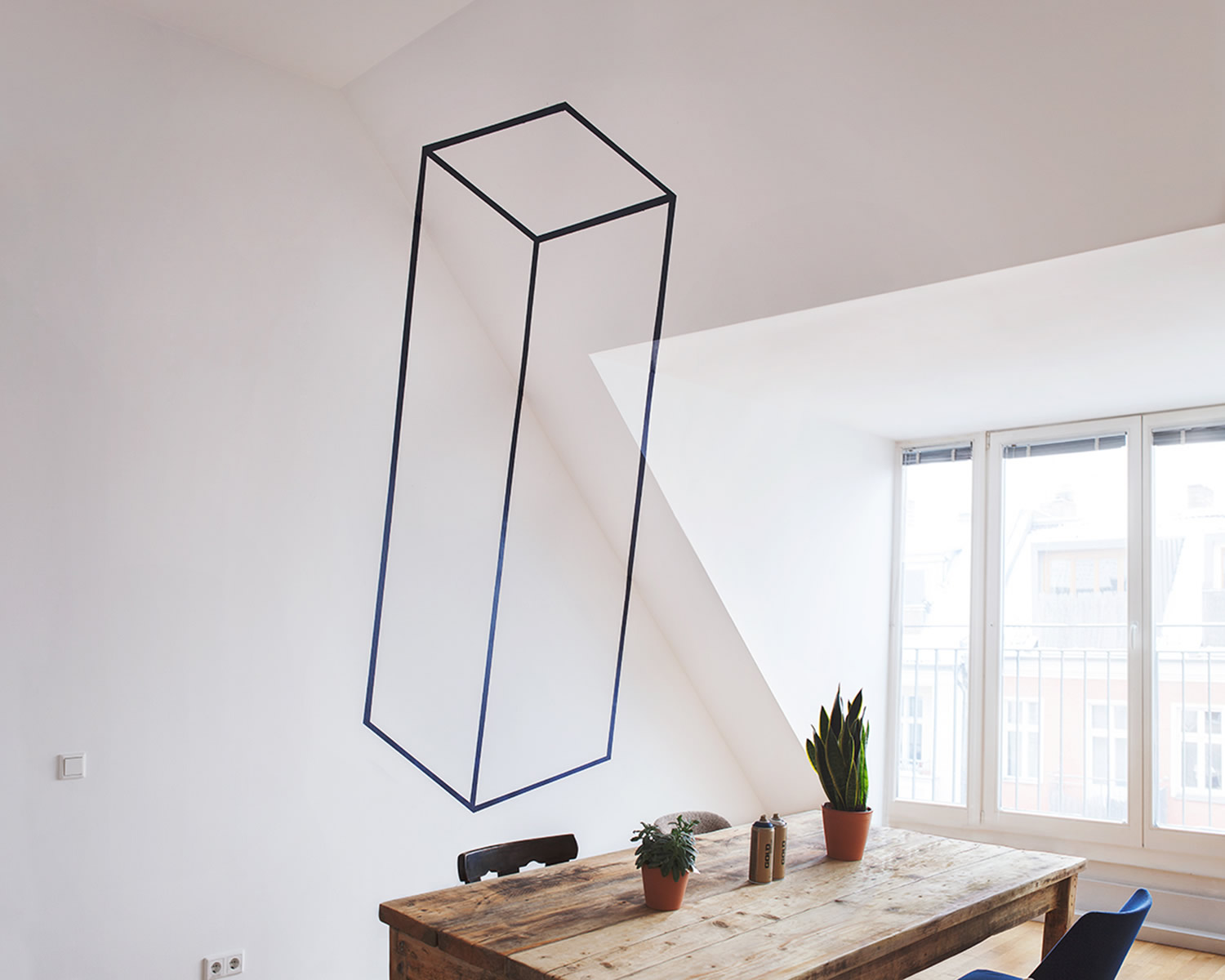 rectangle-cube in office space, Anamorphic art by fanette g.