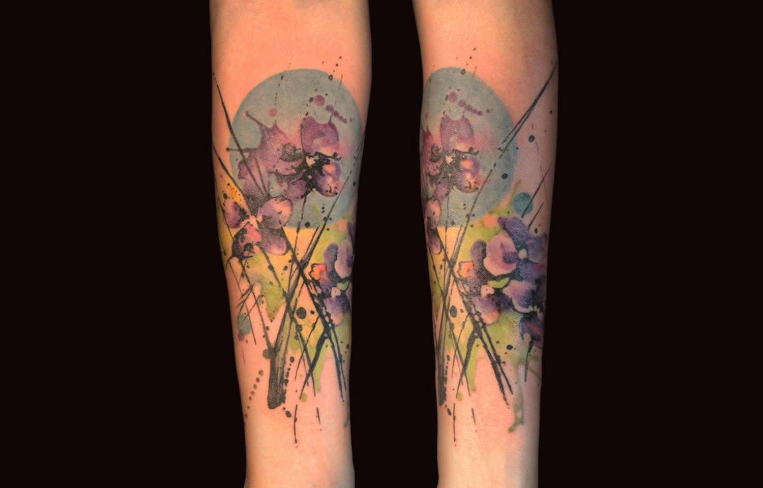 purple flowers (violets) watercolor tattoo by gene coffeey tattoo culture