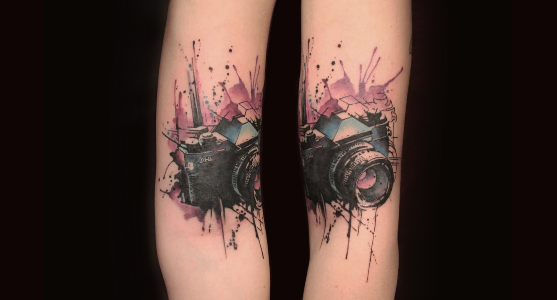 camera paint splash, watercolor tattoo by gene coffeey tattoo culture