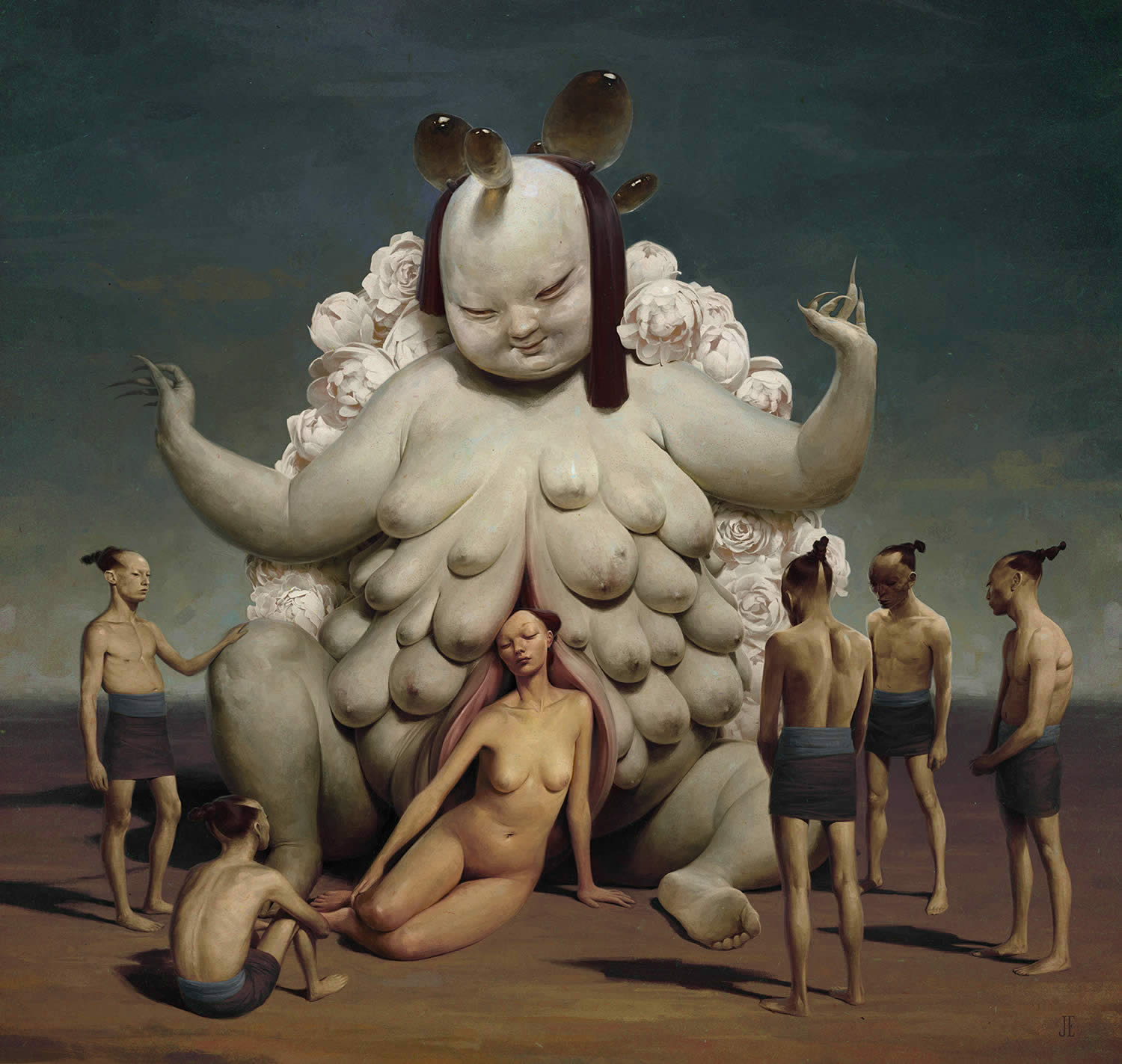 ronation, painting of strange women with many breasts