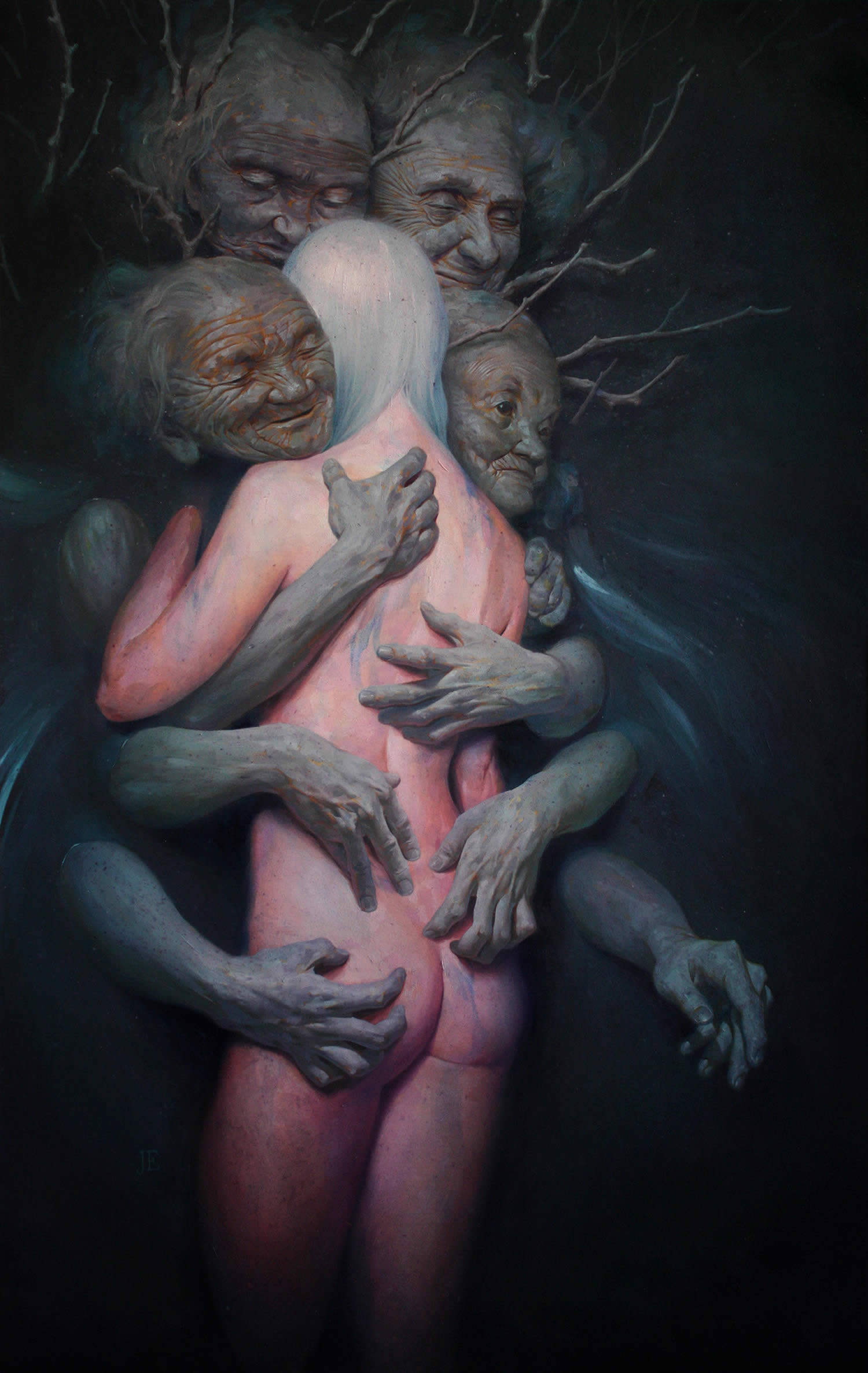 the elderly hugging a pink woman