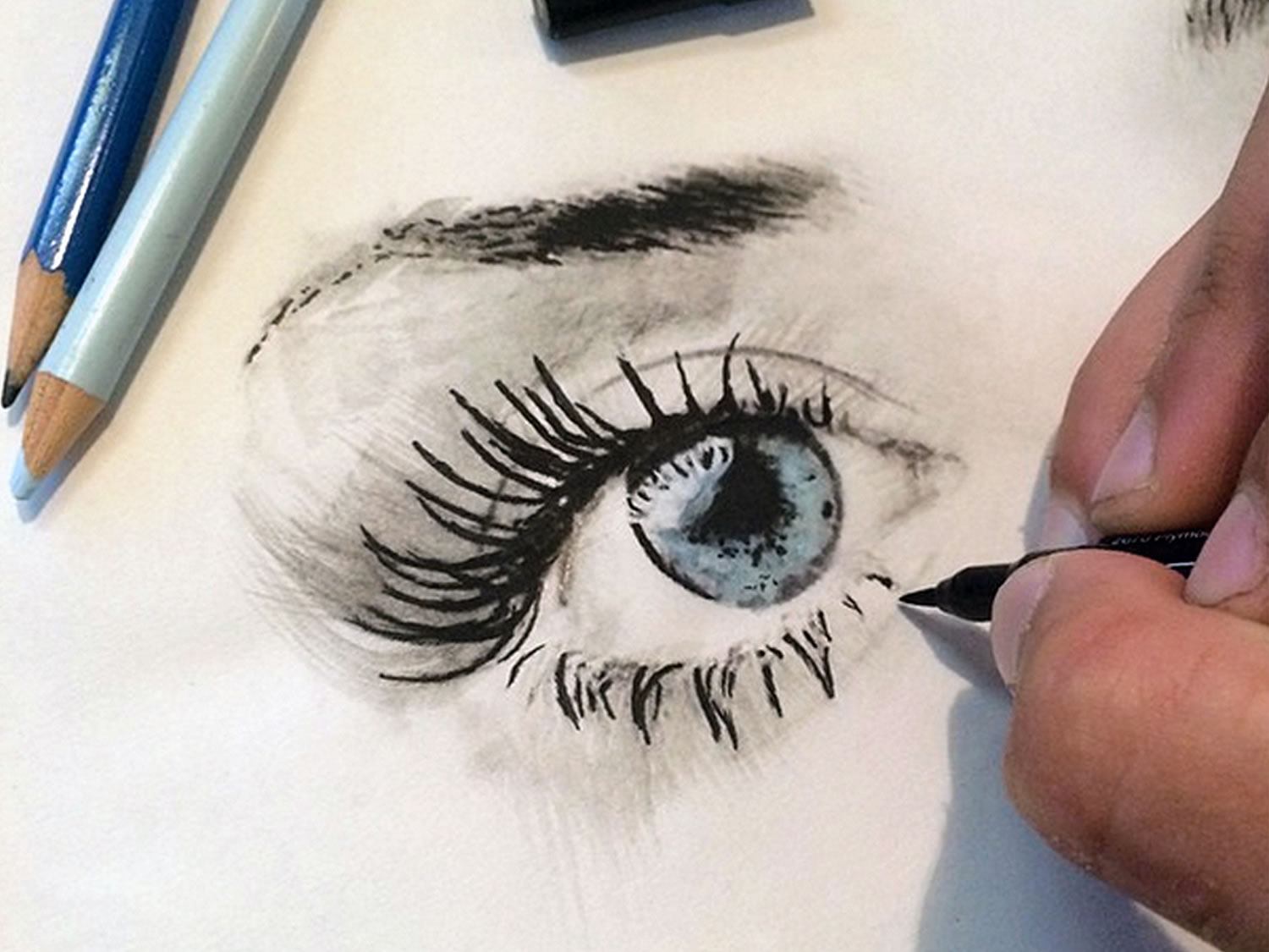 the making of an eye, 3d drawing by joshua krecioch