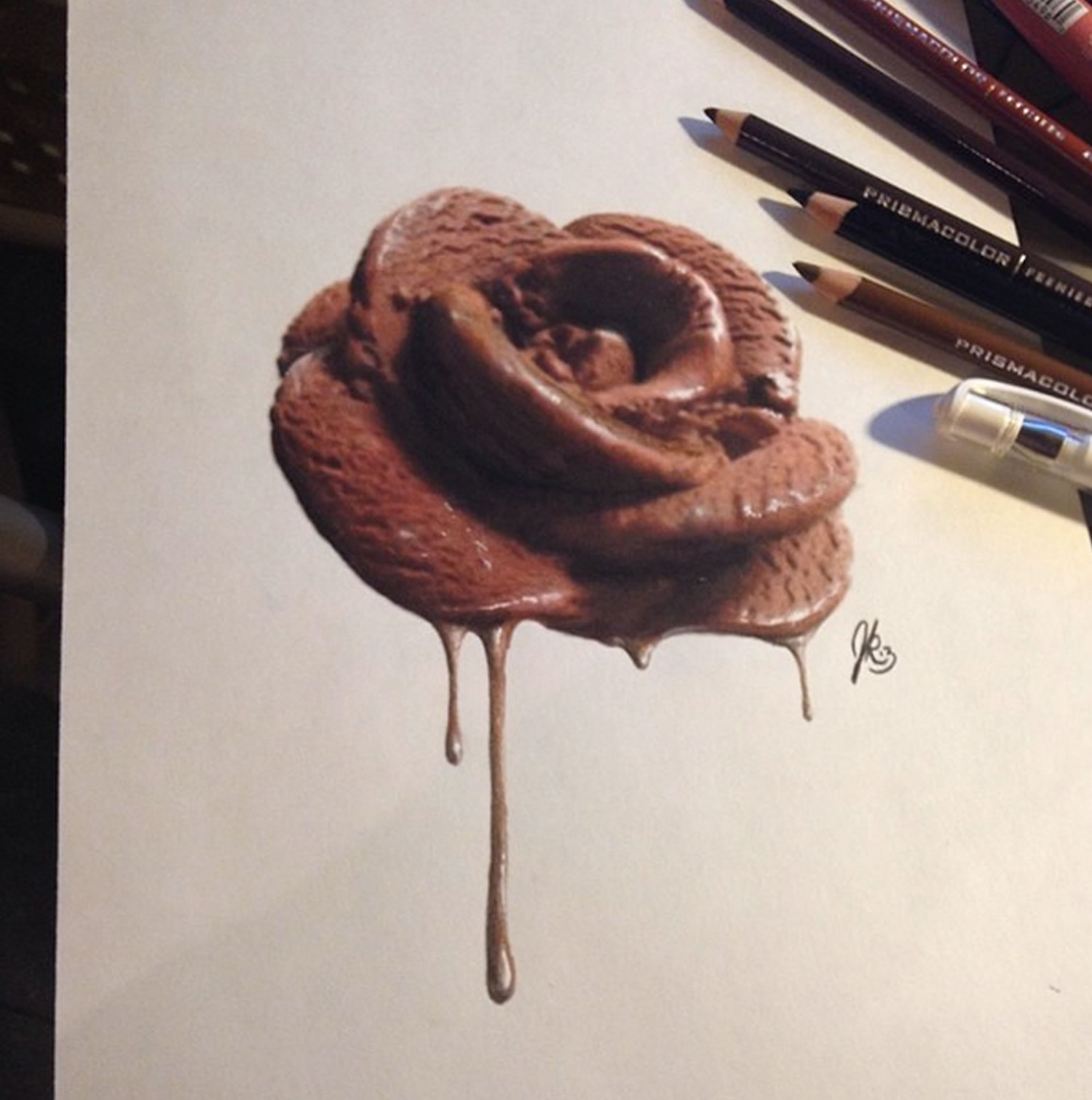 chocolate ice cream rose, 3d drawing by joshua krecioch