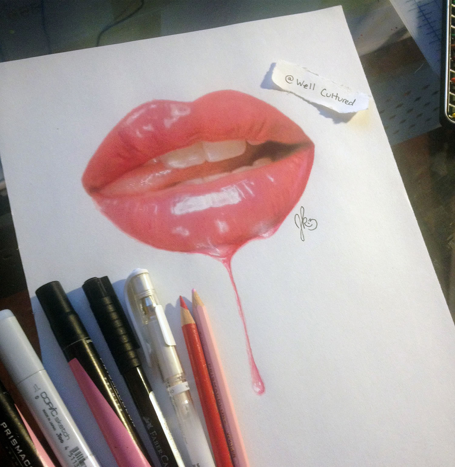 sexy wet lips, 3d drawing by joshua krecioch