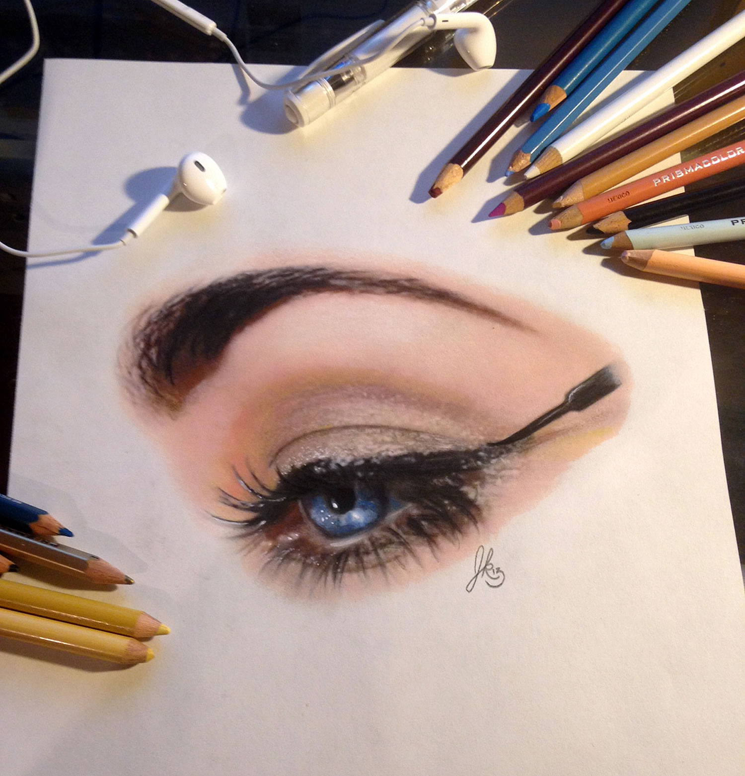 realistic eye, 3d drawing by joshua krecioch