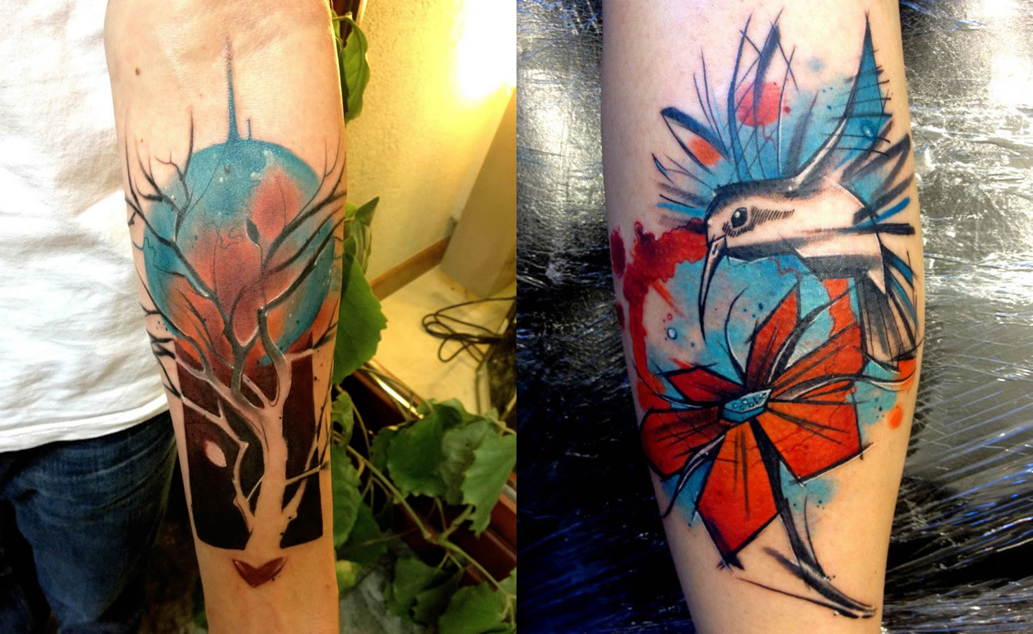 tree and bird with flowers tattoos by Lukasz Bam Kaczmarek