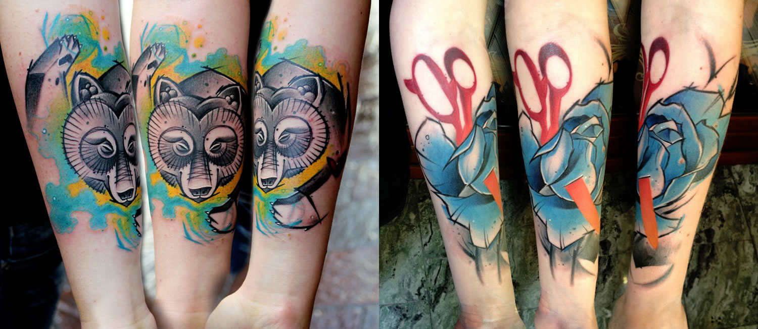 bear and blue rose with red scissor tattoos by Lukasz Bam Kaczmarek