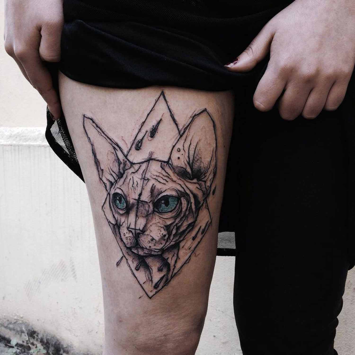 sphynx cat tattoo by Kamil Mokot