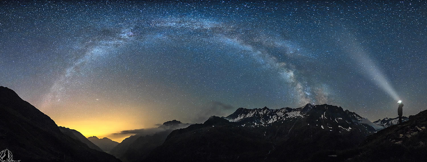 milky way and mountains, by nicholas reommelt