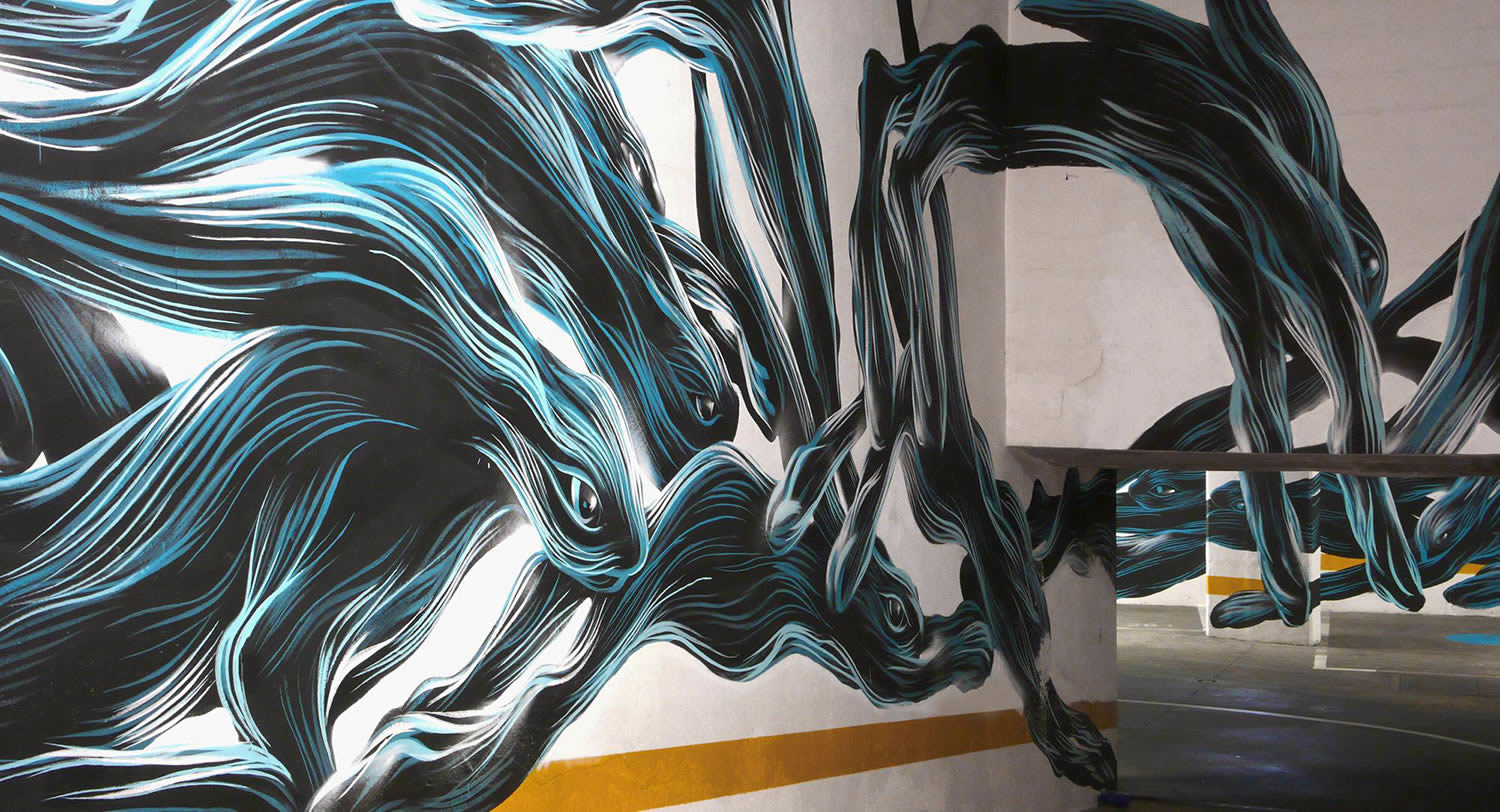 rabbits in motion, graffiti in car garage by pantonio