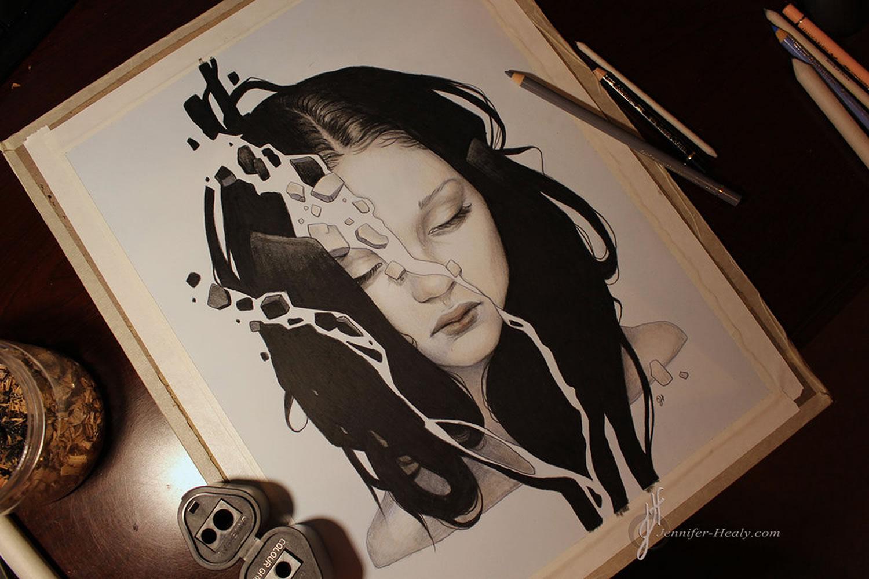 depression (portrait of girl broken in pieces) by jennifer healy