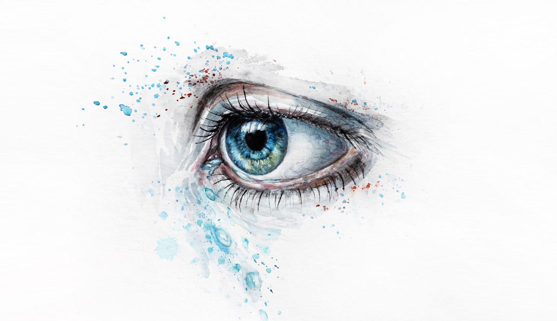 tears (blue eye in watercolor) by nika akin