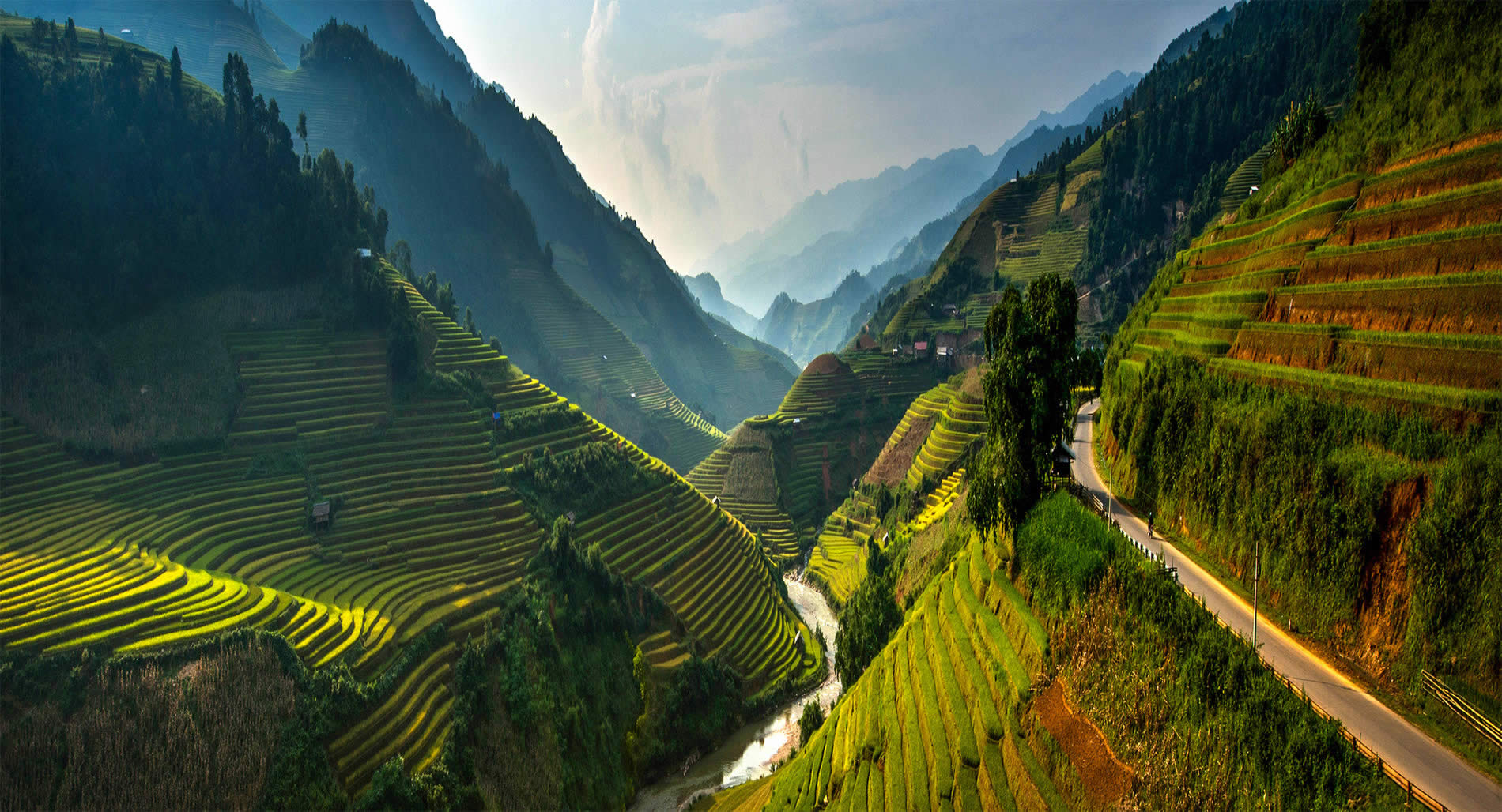 high altitude rice terraces, mountains, valley, by  Sarawut Intarob