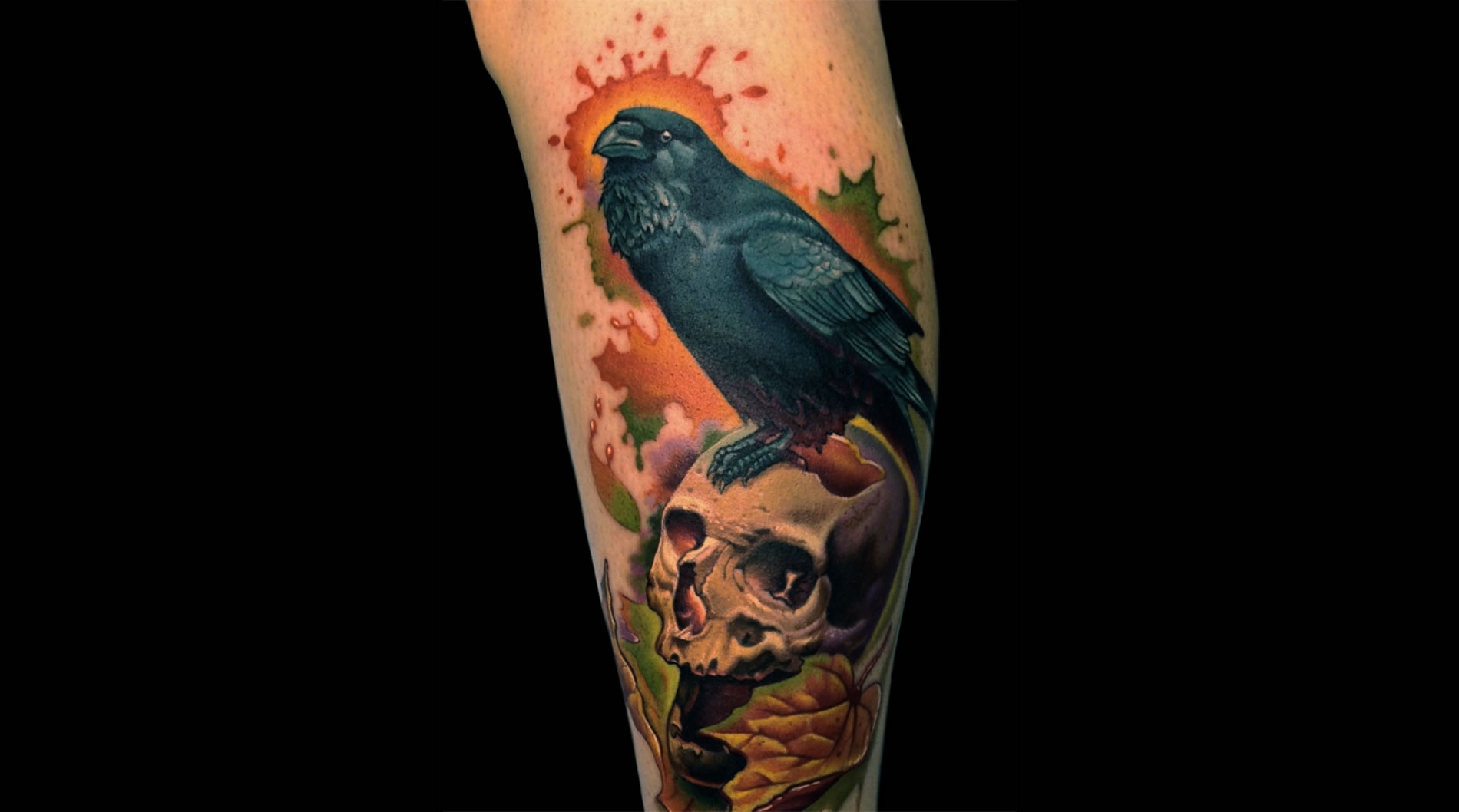 edgar poe, skull and crow tattoo