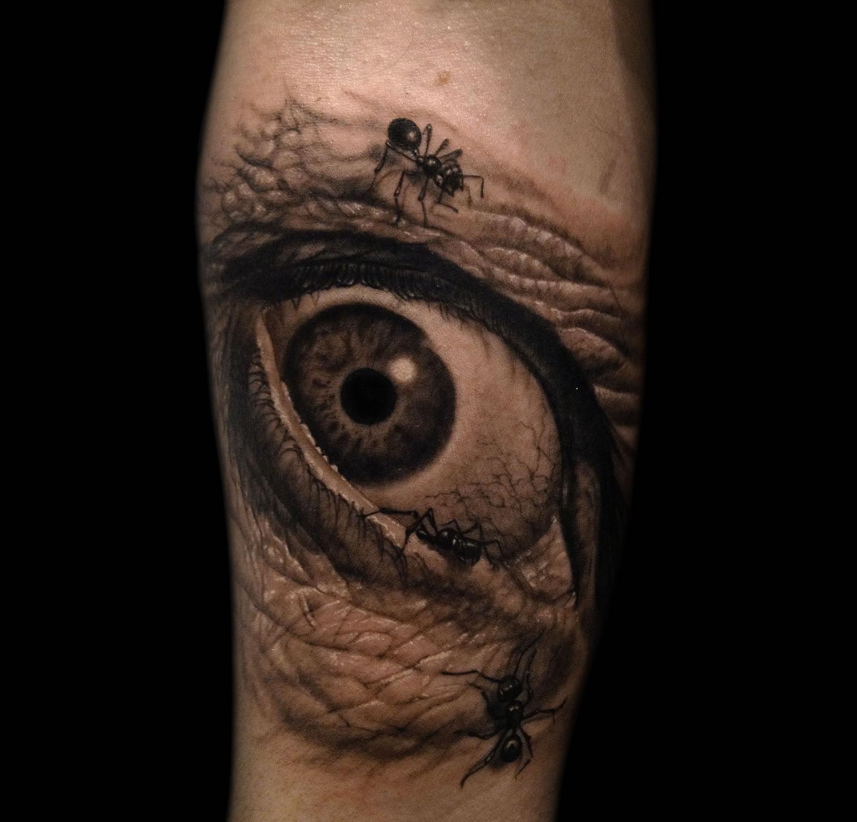 dali eye with ants, tattoo