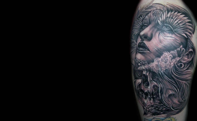 woman tattoo by tony mancia