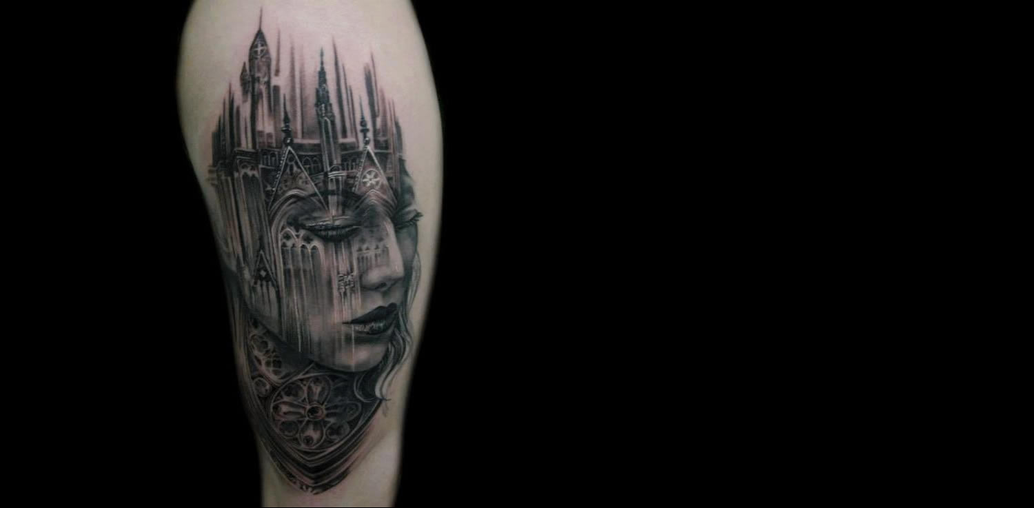 cathedral fusion with woman's portrait, tattoo by tony mancia