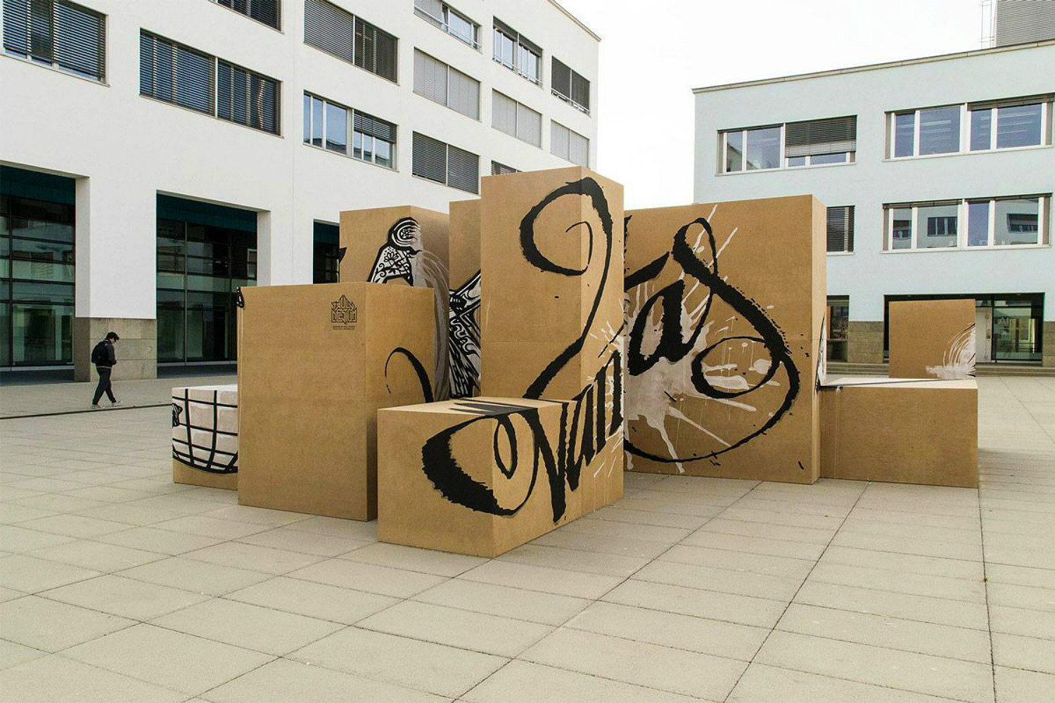 vanities truly design anamorphic cardboard boxes calligraphy