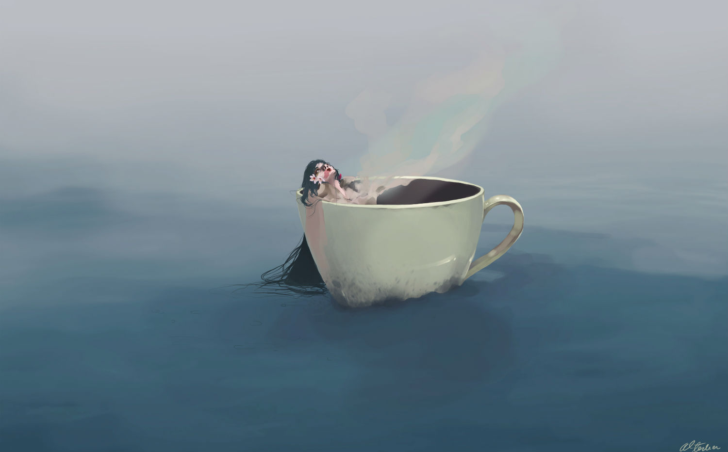 Carolina Rodriguez Fuenmayor illustration surreal colour dreamy tea cup